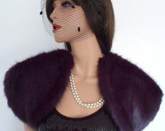 purple fur bolero, amethyst mink shrug, purple wrap, stole, shawl