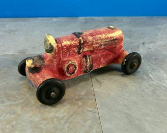 Vintage Miniature Plaster, Clay or Bisque Handpainted Toy Tractor