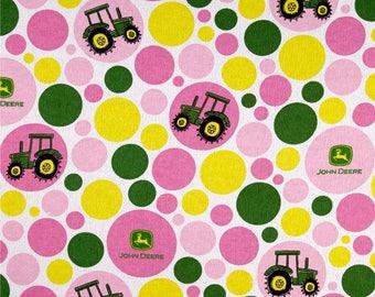 John Deere fabric by the yard - John Deere tractor fabric - pink John Deere fabric - flannel John Deere fabric - #17079
