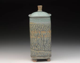 Wheel Thrown and Altered Stoneware Covered Jar. Functional Pottery.