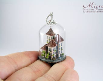 Miniature town in a clear glass dome, exquisitely and richly detailed
