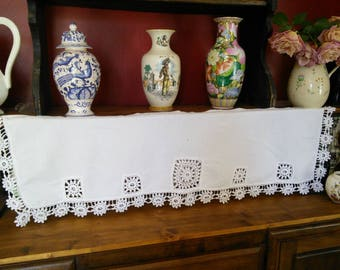 Linen Handmade Cutwork Crochet Valance Pelmet Curtain French Vintage