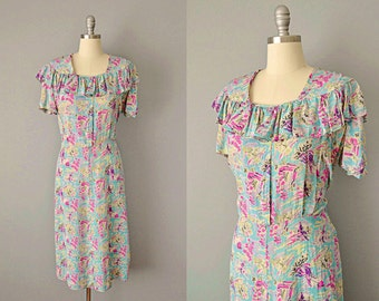 40s Dress // 1940s Siamese Novelty Print Silk Dress // Large