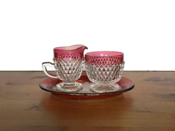 Ruby flash glass tray creamer and open sugar Indiana glass diamond point