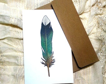Ruby Throated Hummingbird Note Card, Blank Greeting Card, Original Watercolor Print, Thank You Card, Rustic Birthday Card, Bohemian, Feather