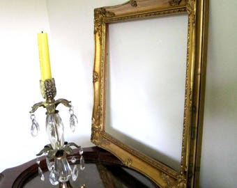 Large Gold Wood Frame, Vintage French Baroque Style, 22 x 18, Ornate Frame with Gold Gesso, Ornate Frame, Gold Wall Decor
