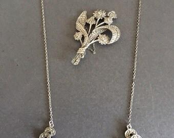 Marcasite Vintage Necklace and Brooch Set