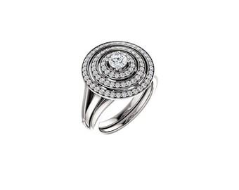 14k solid white gold fancy .63ct diamond ring. circle diamond ring.