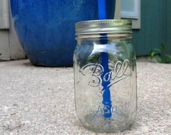 Glass Mason Jar Tumbler With Reusable Plastic Straw