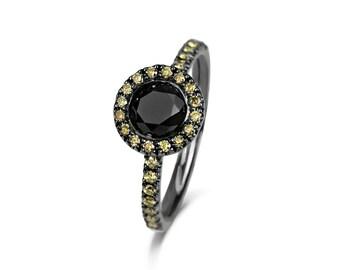Black & Yellow Diamond Ring