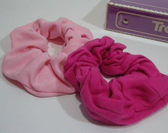 90s Vintage Pink Scrunchies Duo, Retro Fashion Elastic Hairbands from the 80s & 90s, Scrunchy Hairtie Set