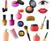 50% OFF Sale Beauty Parlor Clipart, Makeup Set Clip Art, Cosmetics, Makeup, Make up, Nail Polish, Lipstick, Accessories, PNG, Commercial