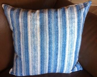 Pillow cover. Decorative pillow cover. throw pillow. blue stripe pillow cover. accent pillow. cushion cover. sham. custom made. designer