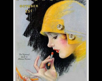 "Vintage PhotoPlay 1920s Magazine Cover Art Deco Poster, Bathroom/Ladies Room Classy Lady Lipstick Wall Art, 8x10"", 11x14"", Free Ship"