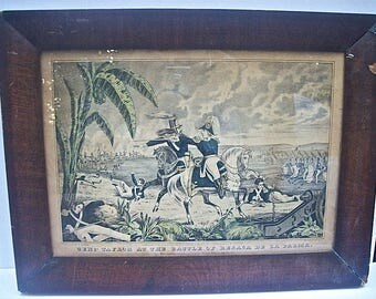 Original Antique Hand-Colored CURRIER & IVES Framed LITHOGRAPH - General Taylor