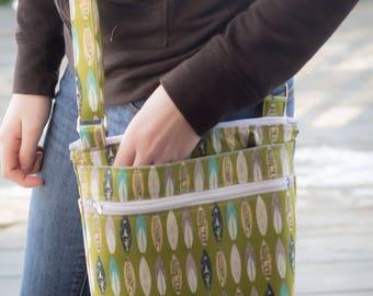 Retro surfboard crossbody bag, large cross body purse, messenger bag, crossbody purse, crossbody bag, shoulder bag, large fabric purse