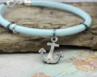 Leather Bracelet with anchor 925 Silver in the used-look, 19 cm color mint, maritime jewellery, bracelet with silver trailer, beach, maritime