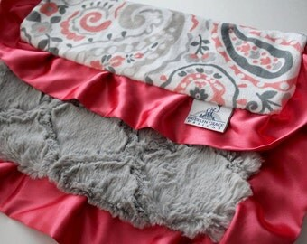 Coral, Gray, Charcoal Gray and white Paisley Lovey, Lovie Blanket with Silver Gray Lattice Minky on Reverse,  Baby Shower, Woobie