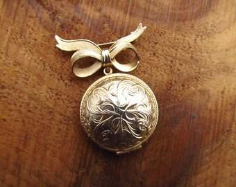 Vintage Perfumer Locket Brooch - Avon Unforgettable Perfume Locket Pin