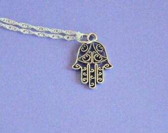 Silver Hamsa Hand Necklace,Hamsa Hand Pendant,Hamsa Hand Charm,Silver Hamsa Hand,Silver Pendant,Hamsa Jewellery,Hamsa Necklace,Hamsa Charm