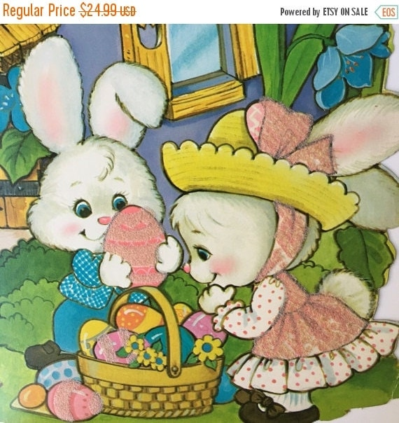 "ON SALE Vintage Peck Inc Easter Die Cut Decorations, Set of ELEVEN, Large 14"" by 11' Cardstock Flocked Easter Decor"