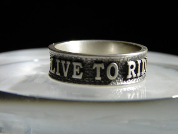 Sterling silver biker ring. Harley Davidson style. Live to ride, ride to live.