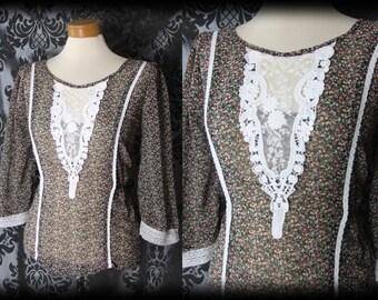 Gothic Black Ditsy Lace Bib LOST LOVE Blouse 10 12 Vintage Romantic Victorian