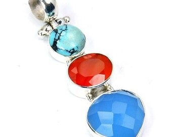Blue Chalcedony, Carnelian, Turquoise & 925 Sterling Silver Pendant , O414