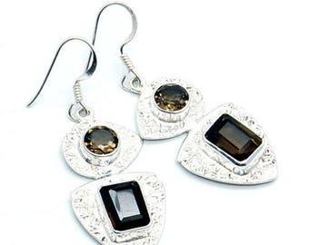Smoky Topaz Earrings & 925 Sterling Silver Dangle Earrings U307 Jewelry TheSilverPlaza
