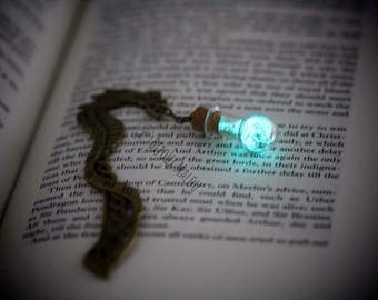 Dragon Glow in the dark Bookmark Dragon Celtic bookmark Bottle Bookmark Christmas Gift Small Gift Nerdy Gift Metal Bookmark Green Blue