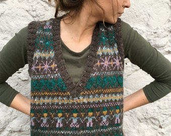 Fair Isle vest Women's vest Men's vest Knitted vest Nordic vest Fair Isle Merino vest Made to order