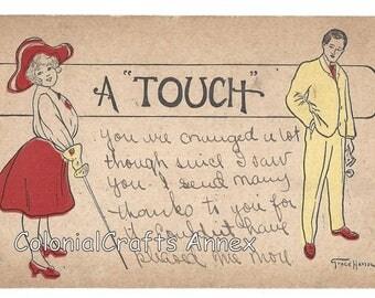 Vintage Postcard - A Touch - Grace Harlow