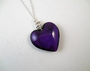 Purple Glass Heart Necklace/ Puffy Heart Pendant