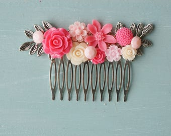 Hair Comb, pink resin flower hair accessory, bridal hair comb
