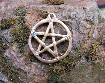 Elemental Pentacle, Pentagram, Bronze Pendant, Bent Pent, Spiritual, Wicca, Wiccan, Witch, Pagan, by the Green Man