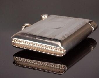 Antique Silver Match Case Vesta, Match Striker for Chatelaine, date 1916