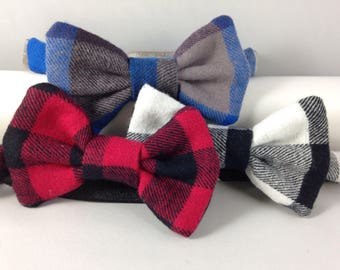 flannel buffalo plaid boys bow tie neck wear adjustable elastic multiple sizes made to order