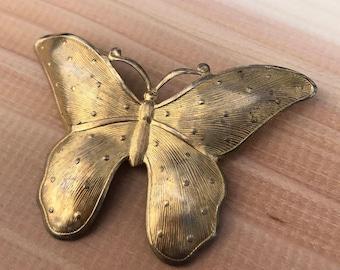 Butterfly Brooch, Vintage Butterfly Pin, Goldtone Butterfly