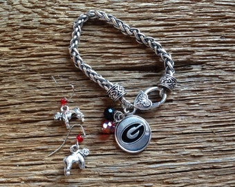 Georgia Bulldogs earrings and bracelet set: UGA bulldogs earrings and elegant Georgia G bracelet with school colors upcycled jewelry