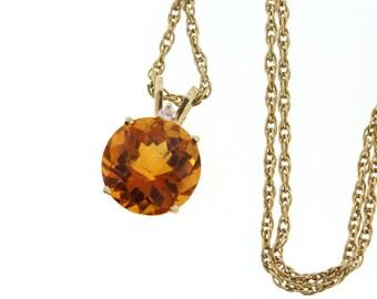 Citrine Pendant, Honeycomb Cut Round Citrine & Diamond Necklace, Yellow Gold Citrine, November Birthstone