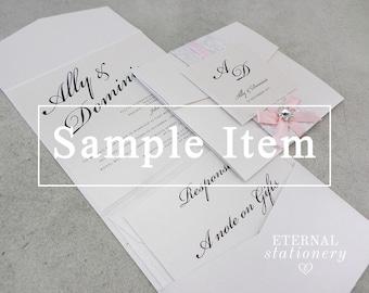 "Elegant Pocket Wedding Invitation SAMPLE - ""Ally"""