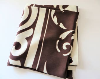 Vintage 1980's  chocolate brown and cream scarf, Summer scarf,
