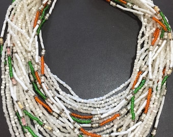 Unusual multi layered vintage/ antique beaded necklace with tapestry clasp