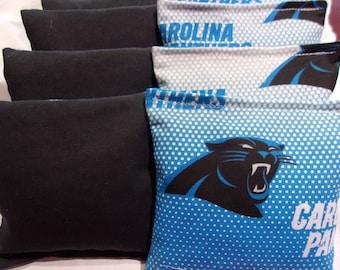 8 ACA Regulation Cornhole Bags - 4 handmade from Carolina Panthers Fabric & 4 Solid Black