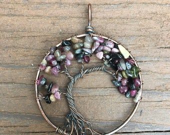 Multi-Tourmaline Tree of Life Pendant