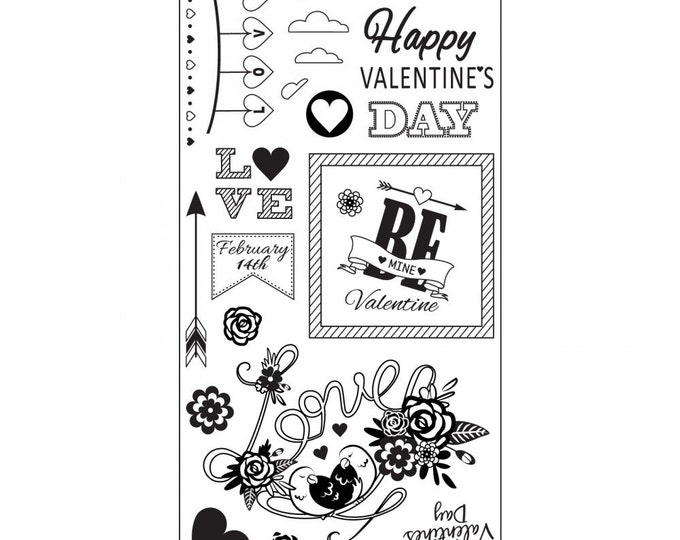 New! Sizzix Clear Stamps - Be Mine Valentine - Valentine's Day Theme 661990