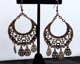 Copper Filigree Boho Chandalier Earrings** FREE SHIPPING**
