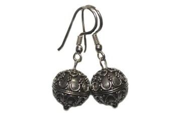 Sterling Silver Earrings, Bead Earrings, Gift for Her, Earrings, Bali Bead Earrings, Sterling Silver Bali Bead Earrings