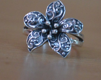 Plain Silver Ring,Design Sterling Silver Artisan Handmade Ring,Oxidized Ring,Plain 925 Silver flower ring,CHRISTMAS SALE US 6 7 8 9 10
