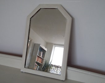 Vintage Painted Shabby Chic Mirror in Farrow and Ball Clunch.